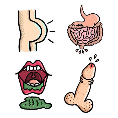 Enfermedades. Tracto gastrointestinal. Estómago, nalgas, la boca, el pene con problemas. Ilustración del vector en el estilo de dibujo.
