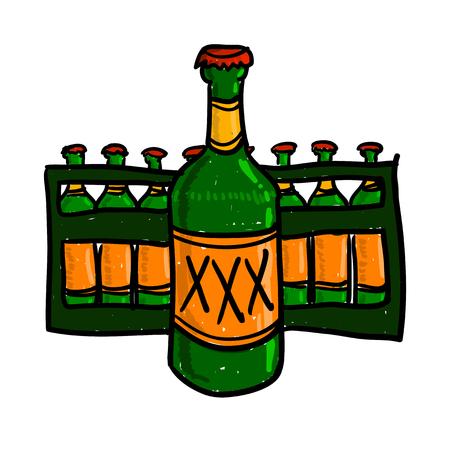Dibujo de la cerveza del vector. Bosquejo coloreado anaranjado verde. Cerrado botella de cerveza con el caso de la cerveza. Ilustración retro del estilo.