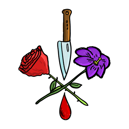 Doodle rose with violet and knife and a drop of blood concept vector illustration