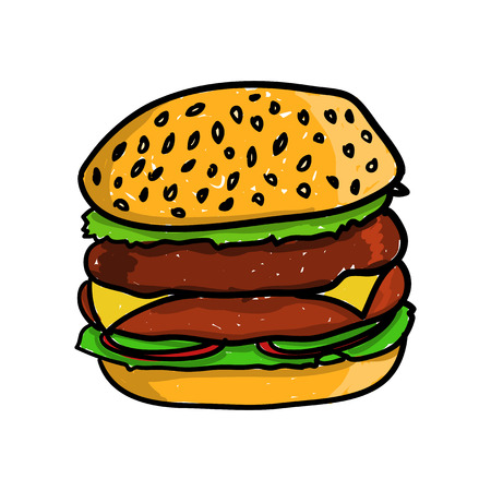 cheddar: Big and tasty hamburger. Vector doodle illustration