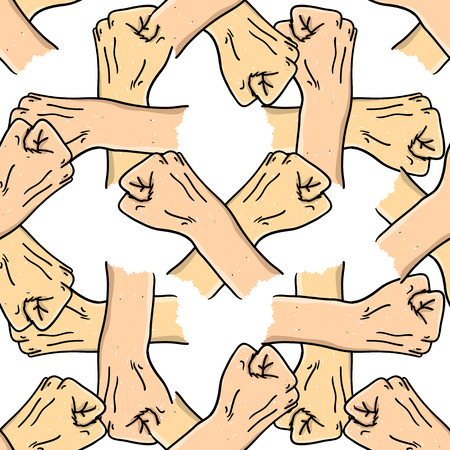 protestor: Doodle style protest fist vector illustration. Seamless pattern