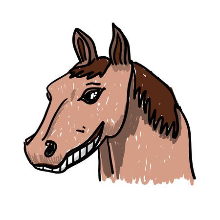Smiling Horse doodle cartoon