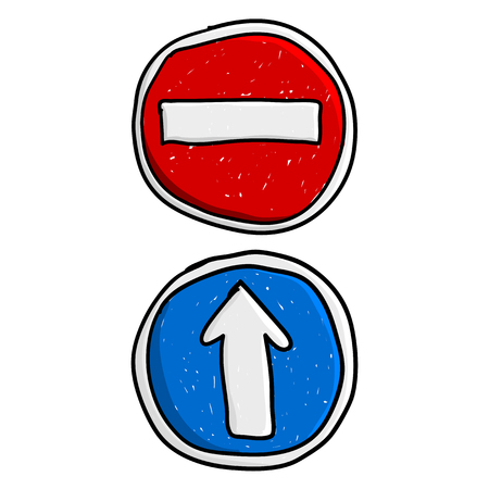 street symbols: Doodle road signs Illustration