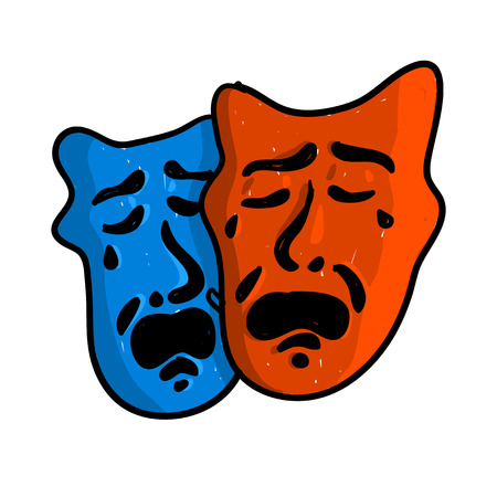 pantomima: WebDoodle drama de estilo o teatro máscaras de ilustración en formato vectorial adecuado para uso web, impresión o publicidad.