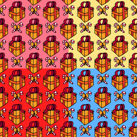 Present seamless pattern in doodle style. Vector background.