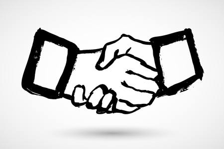 Business handshake  contract agreement flat grunge icon for apps and websites