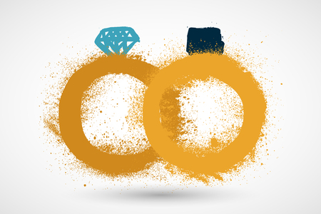Grunge vector wedding rings