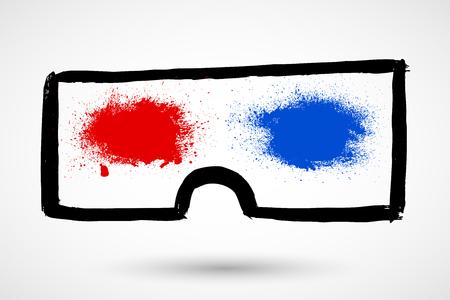 glasses icon: Grunge 3d glasses Icon