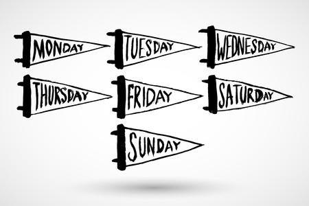 毎日週グランジ カレンダー アイコンのセットします。  イラスト・ベクター素材