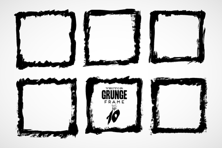 black grunge background: Grunge frame texture set - Abstract design template. Isolated stock vector illustration