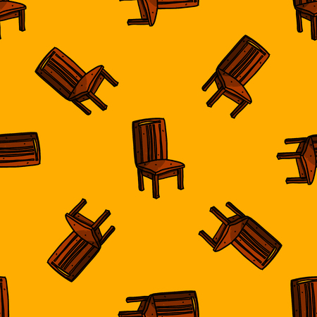 old furniture: Art sketched chair in retro style seamless pattern. Hand drawn vector illustration Illustration