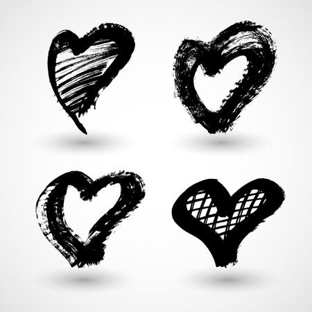 Vector illustration of abstract grunge hearts