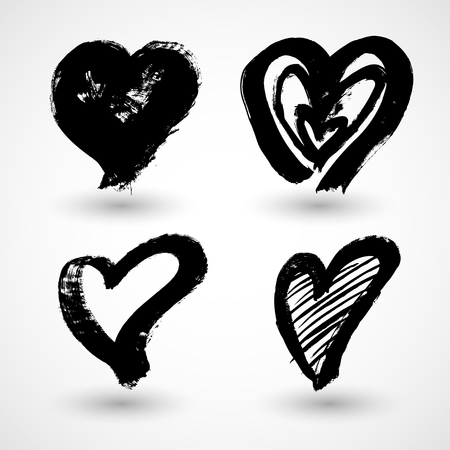 Grunge Hearts. Shapes for your design. Textured Valentines Day signs. Vector illustration Illustration
