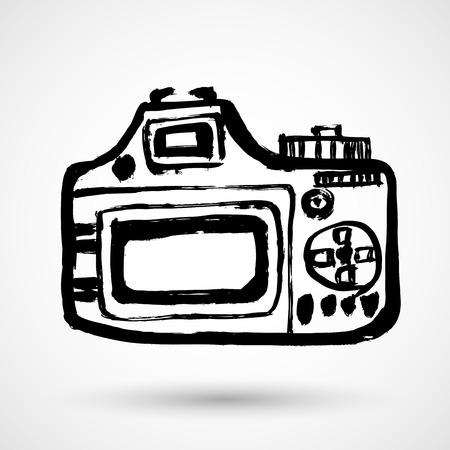 Grunge camera Icon in grunge style isolated on white background. Camera symbol for your web site design,   app, UI. Vector illustration