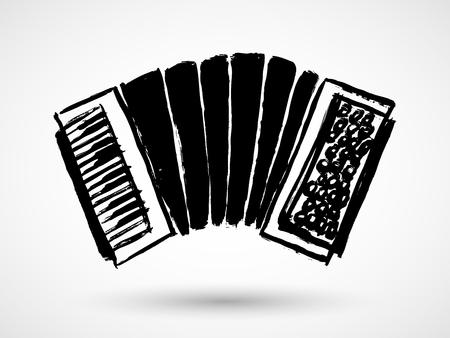 concertina: Accordion grunge icon isolated on white background. Illustration