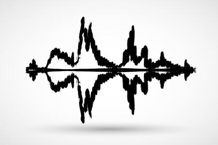 Black music sound waves. Audio technology, musical pulse.