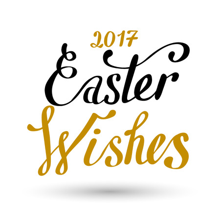 Easter sign - Easter Wishes. Easter wish overlay, lettering label design. Retro holiday badge. Hand drawn emblem. Isolated. Religious holiday sign. Easter sign design for web, print Illustration
