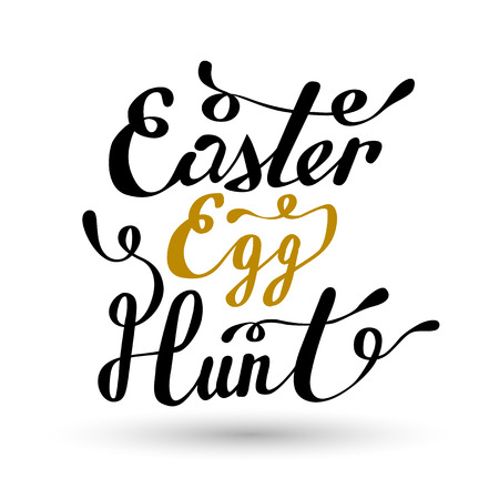 Easter sign - Easter Egg Hunt. Easter wish overlay, lettering label design. Retro holiday badge. Hand drawn emblem. Isolated. Religious holiday sign. Easter sign design for web, print Illustration
