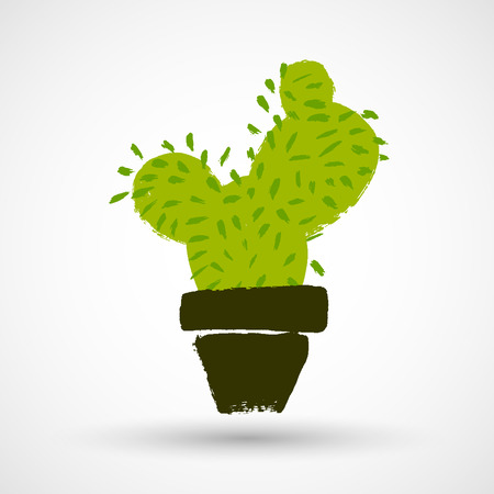 Cactus grunge vector icon