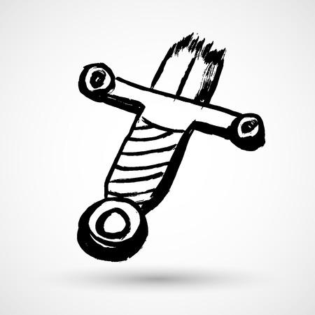 lowbrow: Broken sword grunge vector icon Illustration