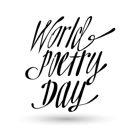 World Poetry Day lettering phrase.