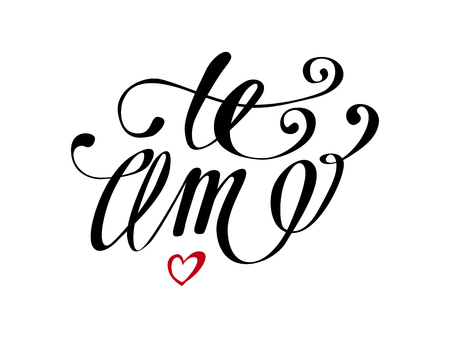 Te Amo love you Spanish text calligraphy vector lettering for Valentine card. Illusztráció