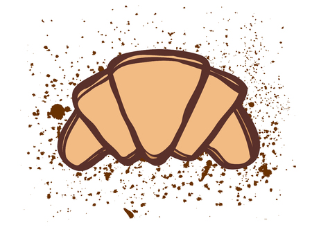 crescent: Croissant vector sketch icon isolated on background. Illustration