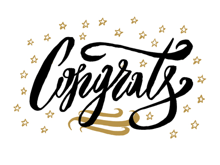 Congratulations card. Beautiful greeting scratched calligraphy black text word gold stars. Invitation design. Handwritten modern brush lettering white background isolated vector Illustration