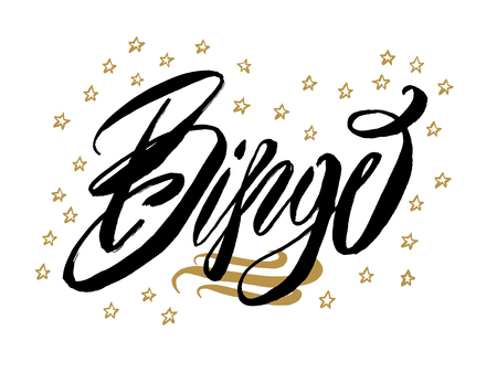 Bingo banner. Beautiful greeting card scratched calligraphy black text word gold stars.Hand drawn invitation T-shirt print design.Handwritten modern brush lettering white background isolated vector