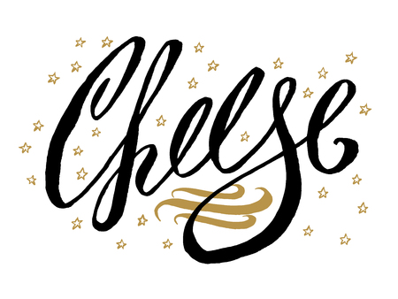 Cheese banner. Beautiful greeting card scratched calligraphy black text word gold stars. Hand drawn invitation T-shirt print design.Handwritten modern brush lettering white background isolated vector