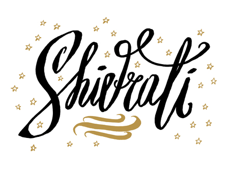 Happy Shivaratri.Beautiful greeting card scratched calligraphy black text word gold stars.Hand drawn invitation T-shirt print design.Handwritten modern brush lettering white background isolated vector
