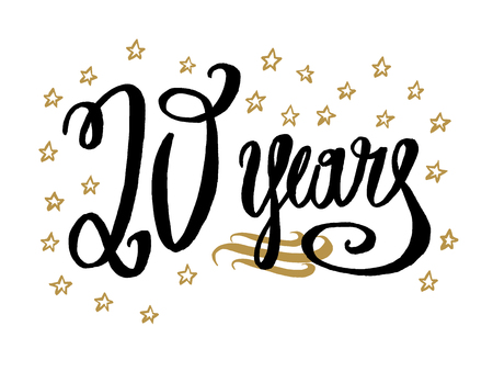 20 years card, banner. Beautiful greeting scratched calligraphy text word gold stars. Hand drawn invitation T-shirt print design. Handwritten modern brush lettering white background isolated vector