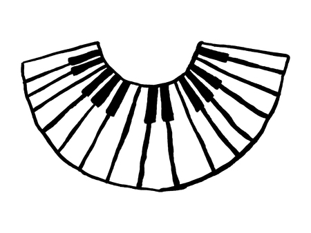 Vector Piano Keyboard Icon, hand drawn illustration
