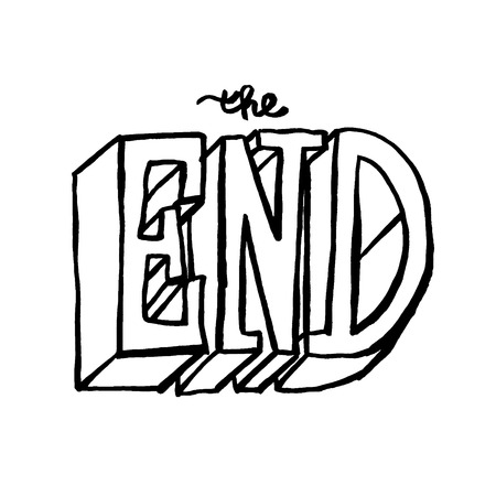 The End calligraphy. Hand drawn stock illustration.