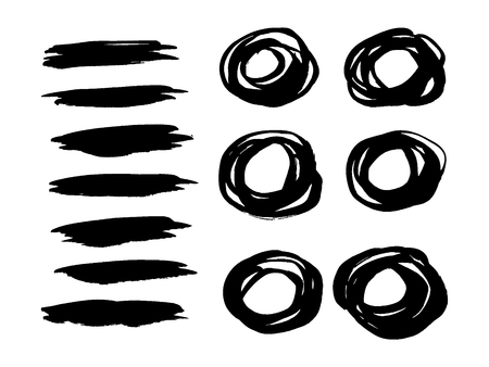 clutter: Set of vector round grunge frames and strokes. Hand drawn ink elements. Abstract shapes isolated Illustration