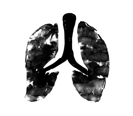 respiratory protection: Lung symbol, grunge vector