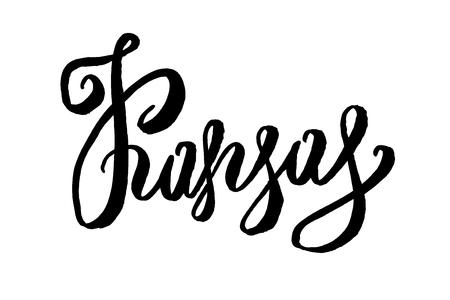 kansas: USA States name Hand-lettering. Modern brush style. Isolated on white background