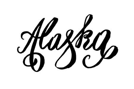 미국 상태 이름 손 글자. 현대적인 브러시 스타일. 흰 배경에 고립