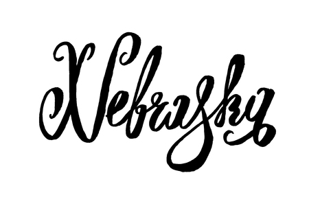 Nebraska USA States name Hand-lettering.