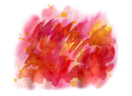 Abstract red watercolor on white background. The color splashing on the paper. It is a hand drawn. Stock Photo
