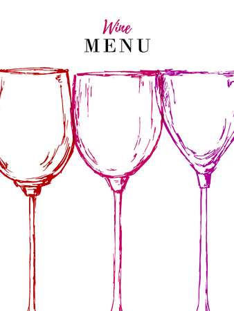 Wine menu design template - vector card with glasses Illustration