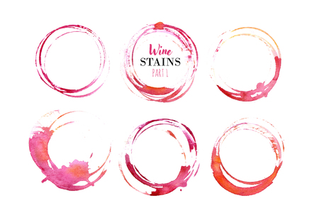 Vector set of isolated red wine stain circles. Wine stain logo design. Wine bottom glass ring stains for badge design. Watercolor hand drawn glass marks of wine stain on white background Stok Fotoğraf