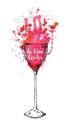 Wine typography design, apparel design, t-shirt print. In vino veritas quote.