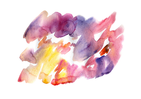 Abstract watercolor on white background. The color splashing in the paper. It is a hand drawn. Bright colors. Liquid paints. Creative artwork.