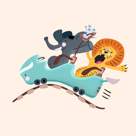Elephant, lion, and mouse on rollercoaster with various emotions. Cartoon flat childish illustration.