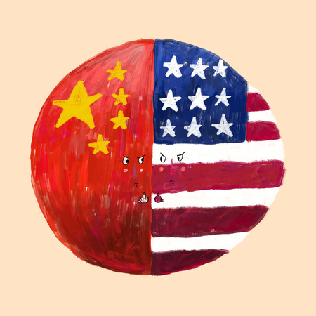 Conflict between USA and China illustration