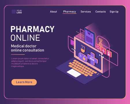 Online pharmacy conceptual composition with isometric images of tablet and various pharmaceutical drugs illustration. Doctor online medical consultation concept. Landing isometric page Vektorové ilustrace