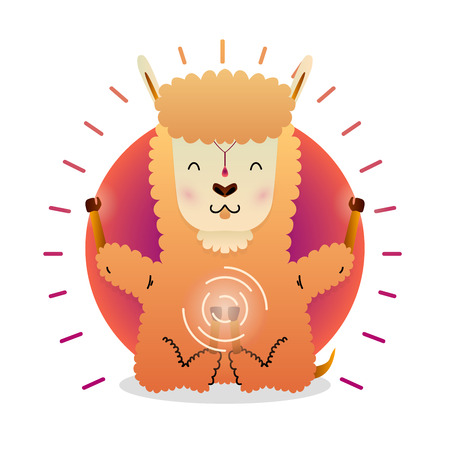 Vector funny cute Lama sitting in yoga lotus pose and relaxing meditates. Adorable cartoon animal illustration. Art for design posters, t-shirts, invitations