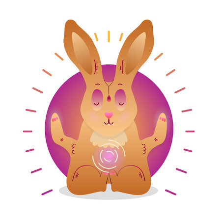 Vector funny cute Rabbit sitting in yoga lotus pose and relaxing meditates. Adorable cartoon animal illustration. Art for design posters, t-shirts, invitations