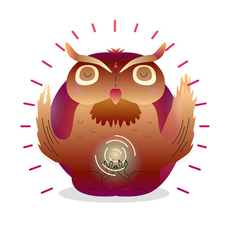 Vector funny cute Owl sitting in yoga lotus pose and relaxing meditates. Adorable cartoon animal illustration. Art for design posters, t-shirts, invitations